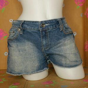 YMI Raw Hem Cut off Distressed Jean Shorts Size 13